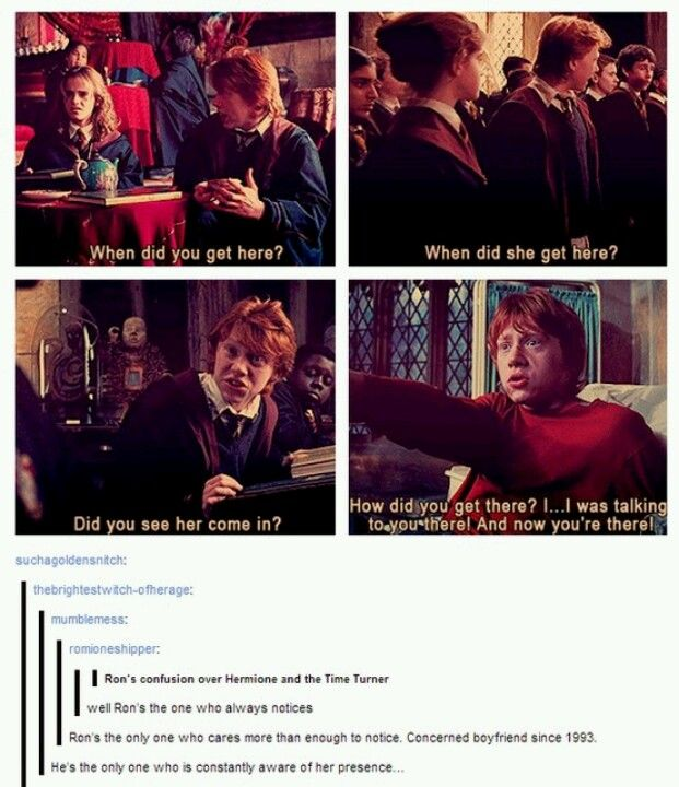 Ever notice how Ron is the one who is constantly aware of Hermione&#39;s mysterious appearances?<br>http://pic.twitter.com/ZeN0HauAlD