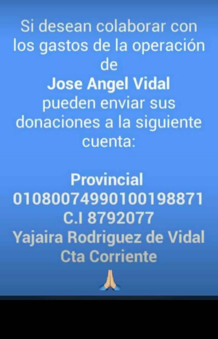 #ServicioPúblico Solicitan donaciones para la operación de José Ángel Vidal, quien sufrió un accidente el 7 de mayo. https://t.co/ye7zjDIU2i