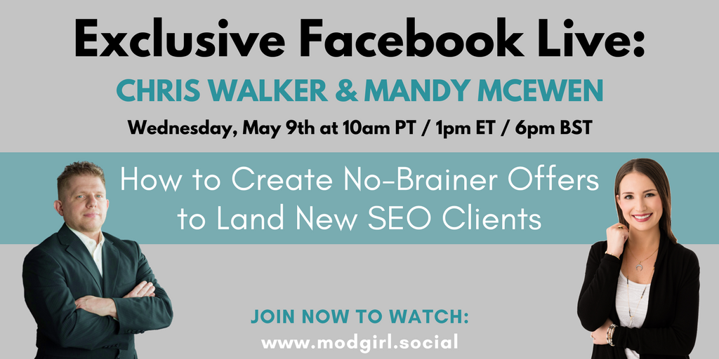 TODAY: Join us for a #Facebook Live where @MandyModGirl & @superstarseo4 will be discussing:  💥 How to Create No-Brainer Offers to Land New #SEO Clients 💥   Sign up to join our FB group to watch live: https://t.co/4czsYzpdR5