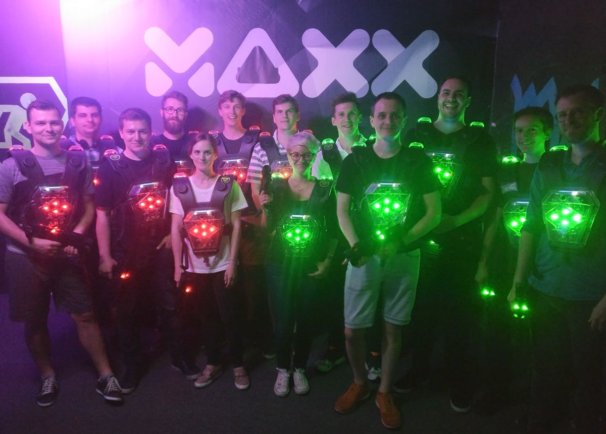 The Bitpanda team at our last office event! 🐼 We went to our nearby Laser Tag to have some fun as a team....even if some questionable tactics were used. You could be there next time with us as we currently have a range of open positions: jobs.lever.co/bitpanda #bitpanda #team
