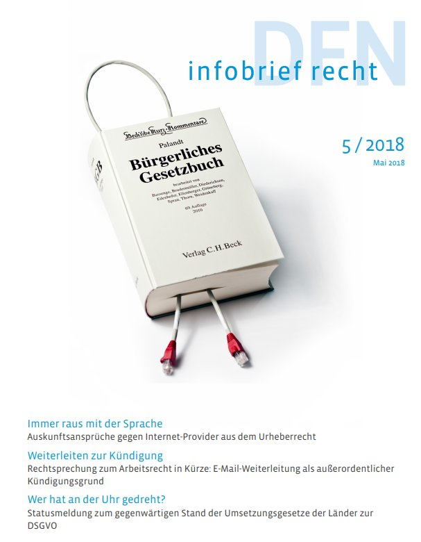 Dfn Cert On Twitter Dfn Infobrief Recht Ausgabe Mai 2018