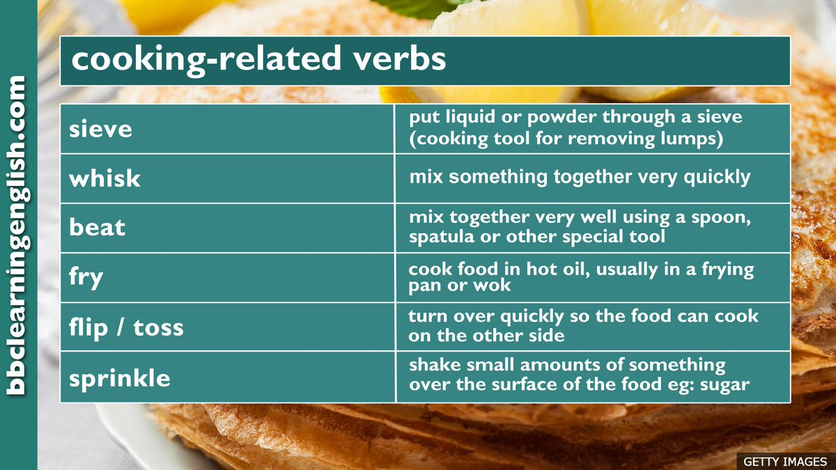 If you're cooking today, these cooking-related verbs might help you follow a good recipe #learnenglish #vocab