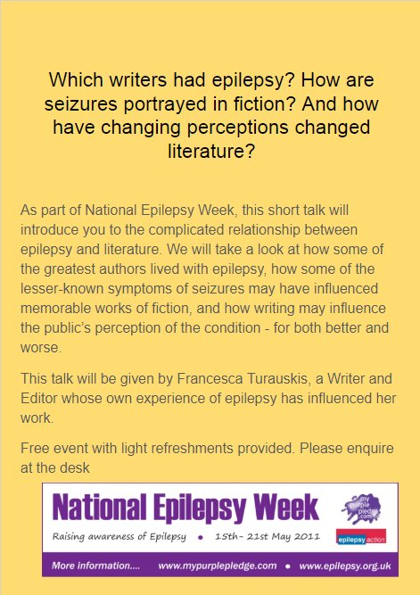 For #epilepsyweek I'll be giving a talk on Epilepsy in Literature for  @kinglibheritage Tolworth Library, 15th May, 5pm. Sign up by email or DM  for info.