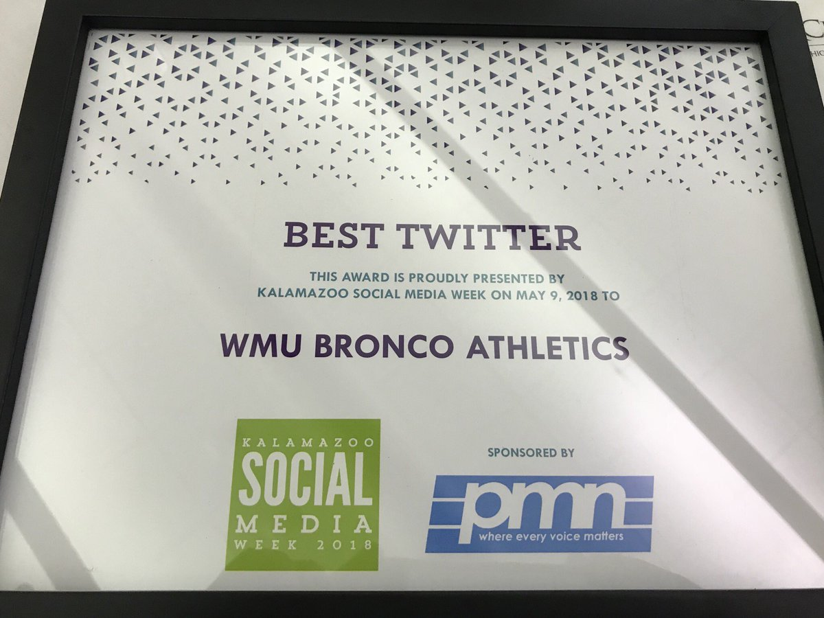 "WMUBroncos has been awarded ""Best Twitter"" during Kalamazoo Social Media  Week! 39e0cfcc5"