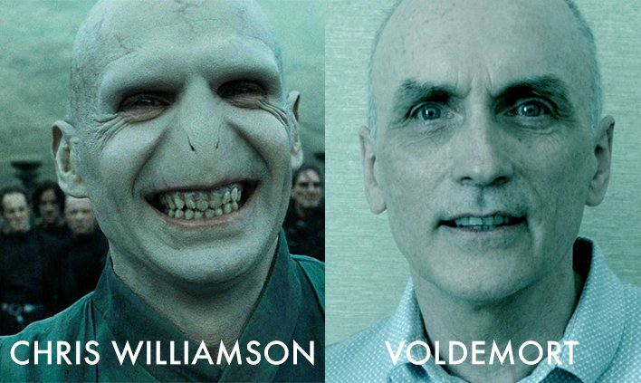 """Joo sur Twitter : """"MP lookalikes #1 - Voldemort and Chris Williamson. One,  an evil, shadowy creature who will stop at nothing until darkness is  brought upon us all and the other,"""