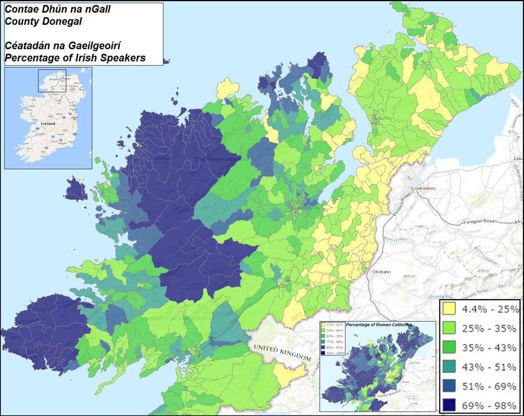 Map Of Ireland As Gaeilge.Uk Languages On Twitter Percentage Of Irish Gaeilge Gaelic