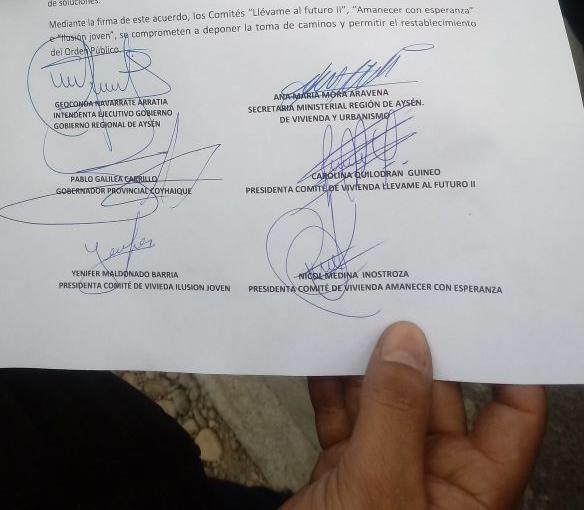 Firmas que confirman acuerdo