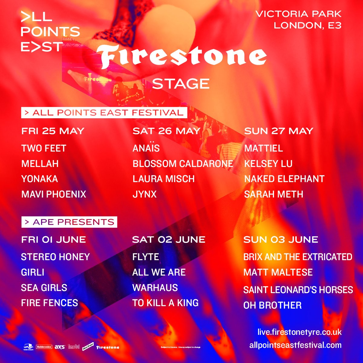 Firestone Hours Sunday >> All Points East On Twitter Presenting Firestone Stage