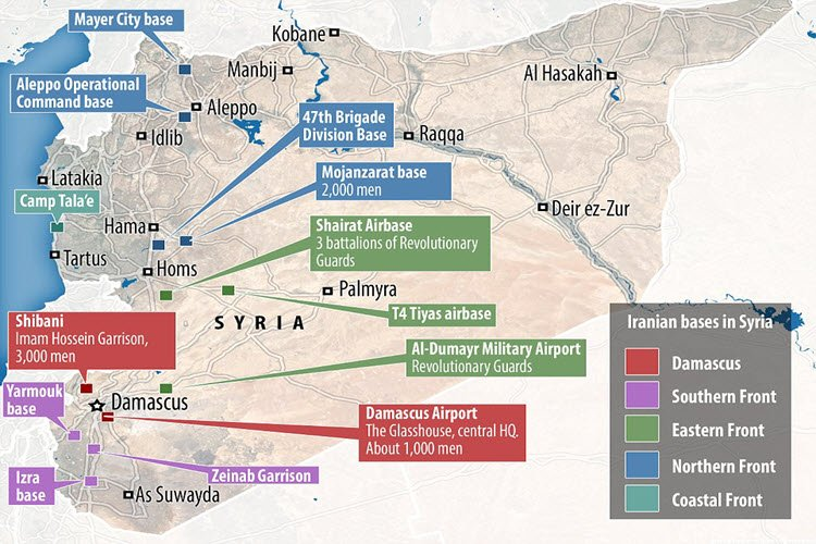 Image result for iranian bases in syria