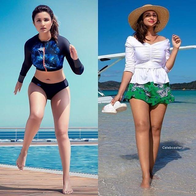 whom will you choose  #parineet in sexy swimming costume  or #ParineetiChopra in sexy mini dress