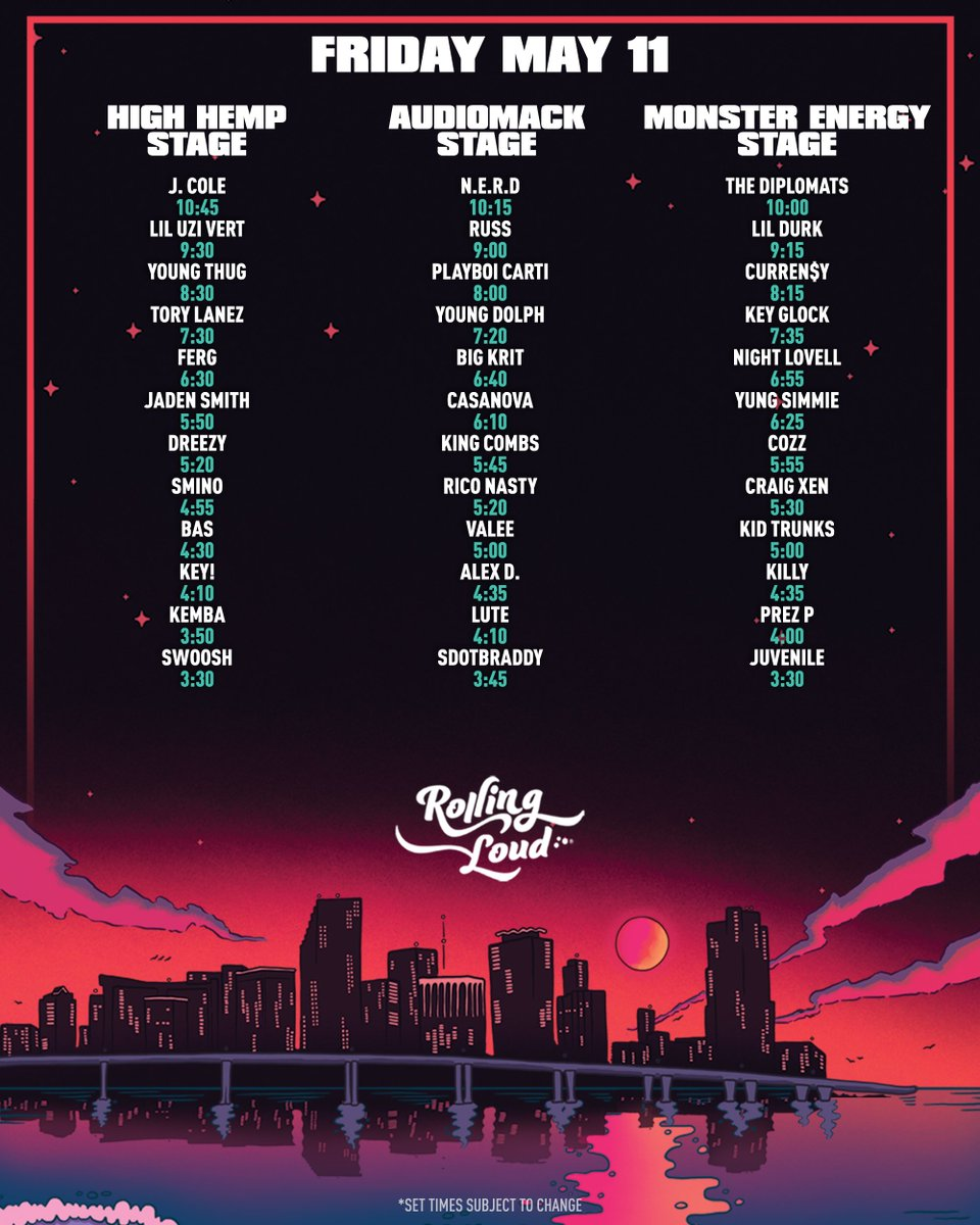 """Site Map 2018: Rolling Loud On Twitter: """"MIAMI 2018 SITE MAP + SET TIMES…"""