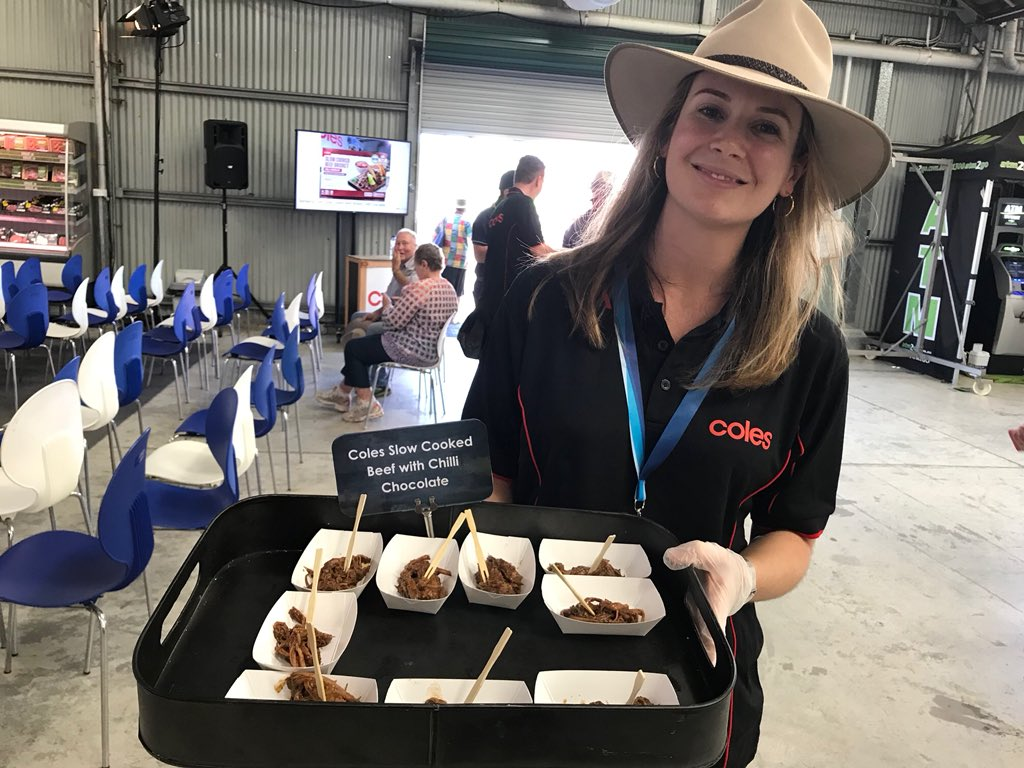 Come along to the Walter Pearce pavilion to sample Coles Slow Cooked Beef with Chilli Chocolate for Beef Week. Yum! #BeefWeek #BeefAus2018 #BA2018