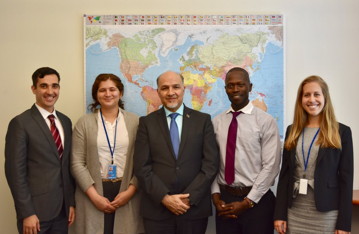 Proud of our interns Tolbert(Uganda), Jillian(US), Sombul (India) & Pavel(Russia) who finished their term today with a touch of proactive/creative diplomacy at @AfghanMissionUN. Their diversity enriched our work & I am thankful for their contribution.