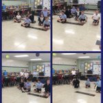 Image for the Tweet beginning: 4th graders using rope to