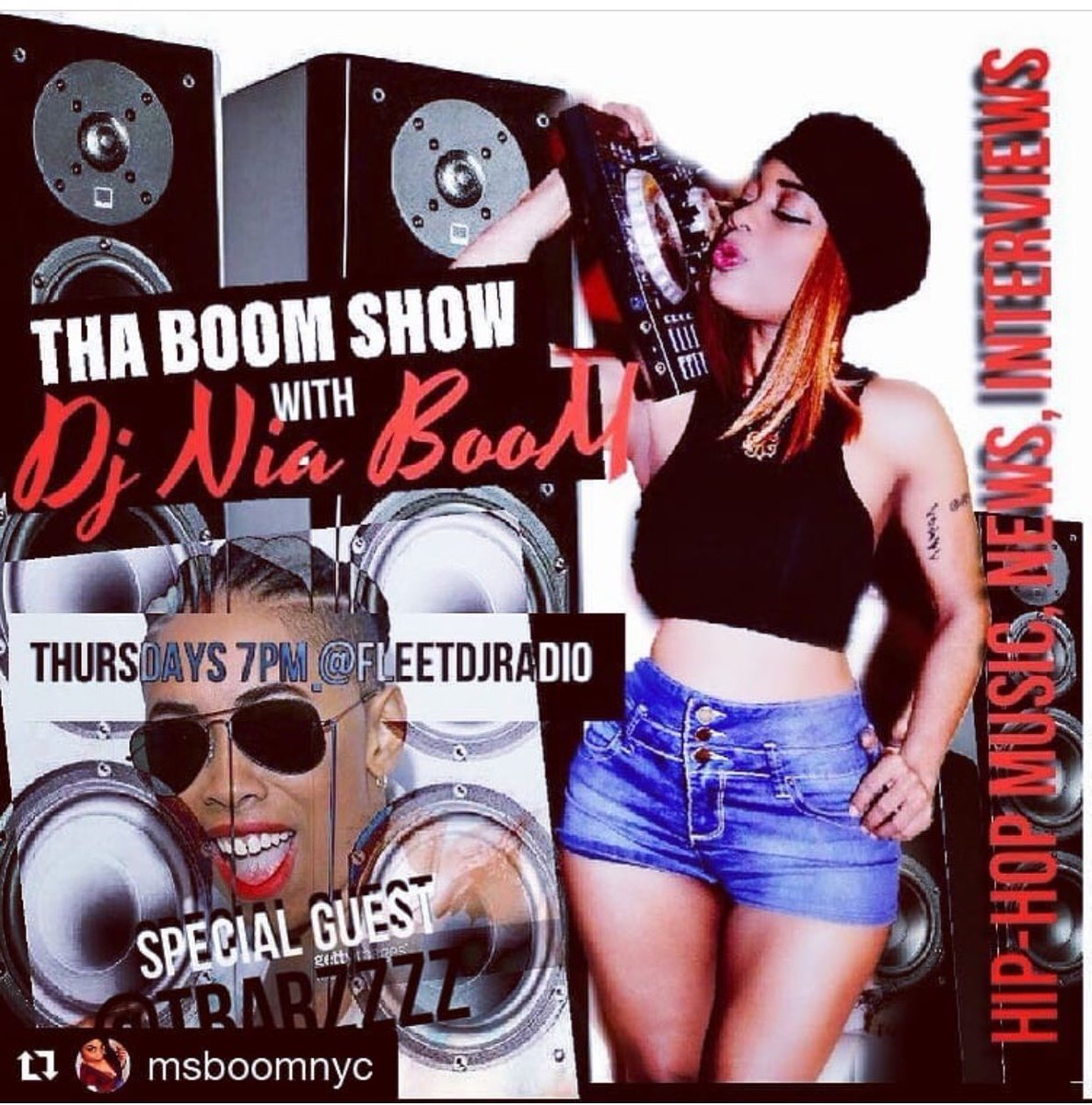 Tune In with T Barz @TBarzzzz Tomorrow night @ 7pm EST. With @DJNIABOOM on #TheBoomShow ! niaboom.com 💥💥💥💥
