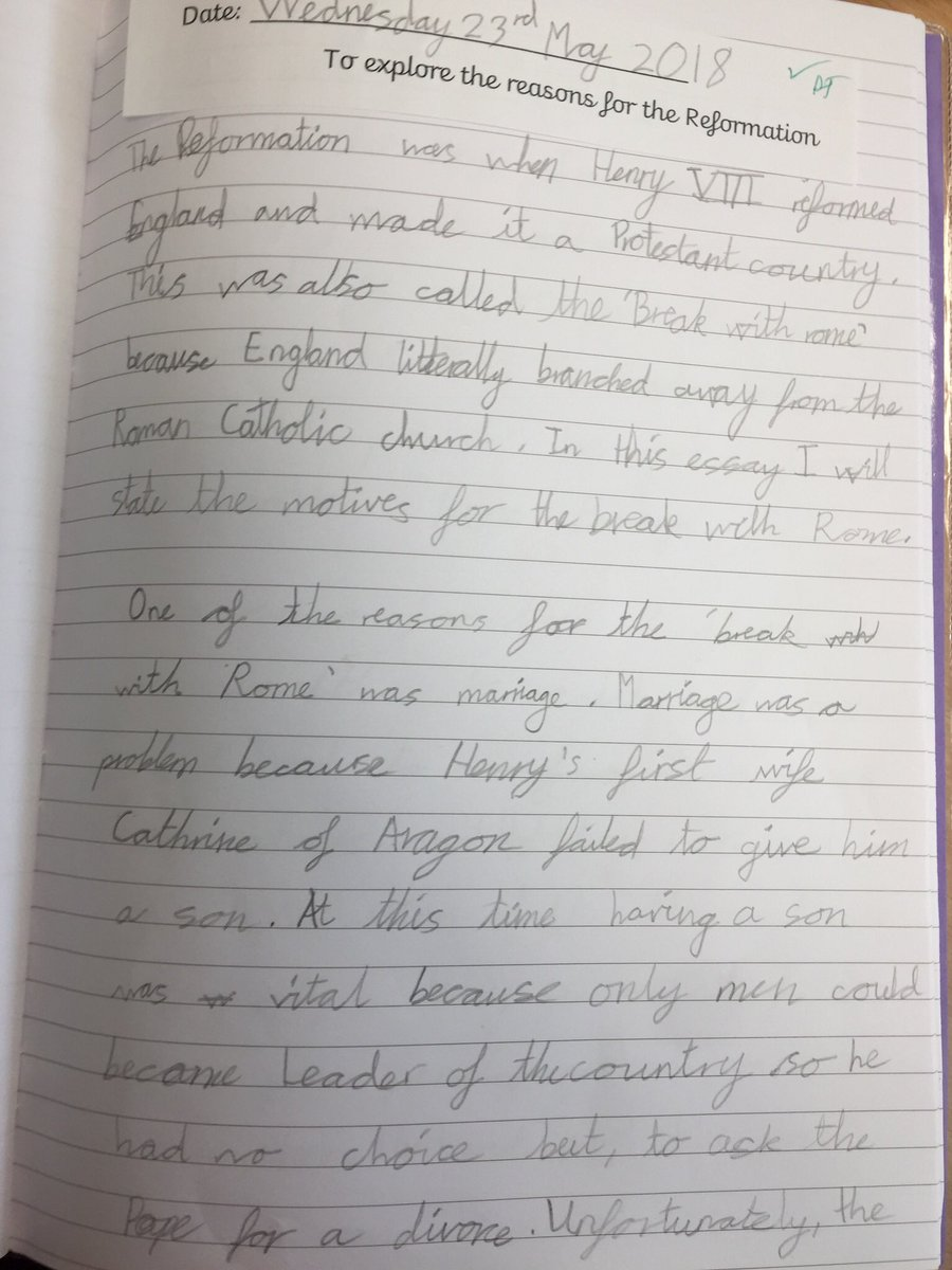 wlfs primary on twitter our year  children have been writing  our year  children have been writing excellent essays about henry viii and  the english reformation we are very impressed with them all