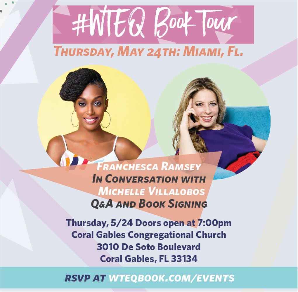 the #WTEQ book tour continues tonight in Miami! So excited to be in my home state of FL with my friend @mivi! Don't forget next week I'm hitting up Chicago, LA, San Fran & Atlanta so visit wteqbook.com/events for more details!