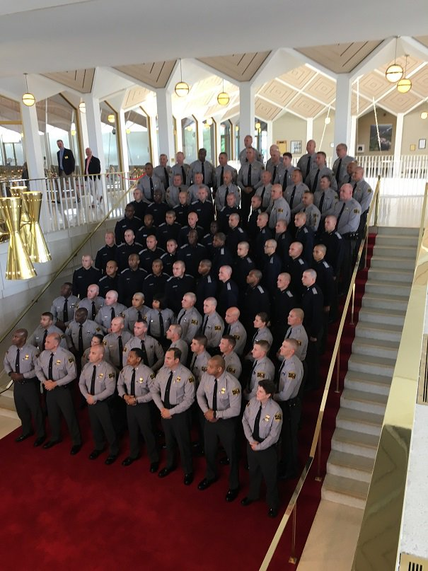 State Highway Patrol was honored today at the NCGA. HR 987 ~ Honor Highway Patrol&#39;s Anniversary  http://www. ncleg.net/gascripts/Bill LookUp/BillLookUp.pl?Session=2017&amp;BillID=H987 &nbsp; …   #ncga #ncpol<br>http://pic.twitter.com/IhkJsoTAVO