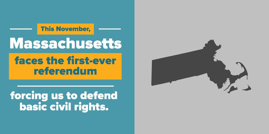 This November, Massachusetts will be the first state to vote on non-discrimination protections for #transgender people—and we need your help to ensure we vote YES to uphold #transequality: https://t.co/fgQy1GV6Cy #mapoli