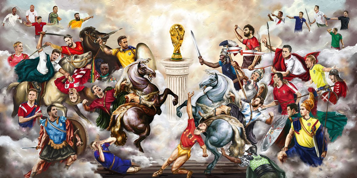 Absolutely loved painting this for @brfootball All 32 World Cup teams in a Renaissance style. Retweets would be hugely appreciated to get it seen by all the participating countries! Cheers guys #WorldCup