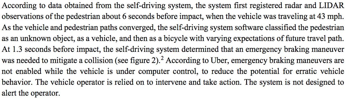 If the NTSB's diagnosis of the Uber crash is right, this is totally insane. https://t.co/0KqSD5HVyx
