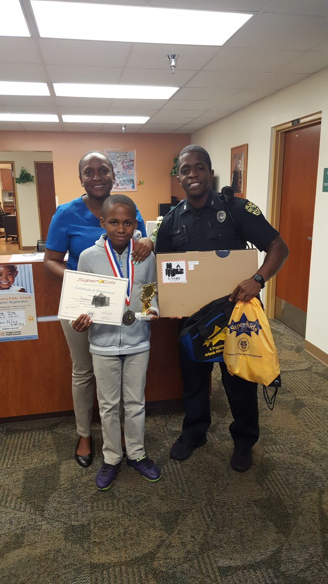 Congratulations to student Andrew V. For winning the Super Kids Essay Contest! His awesome essay won him a Lenovo laptop! Way to go Andrew 🎉😊 @West_OCPS @OrlandoPolice