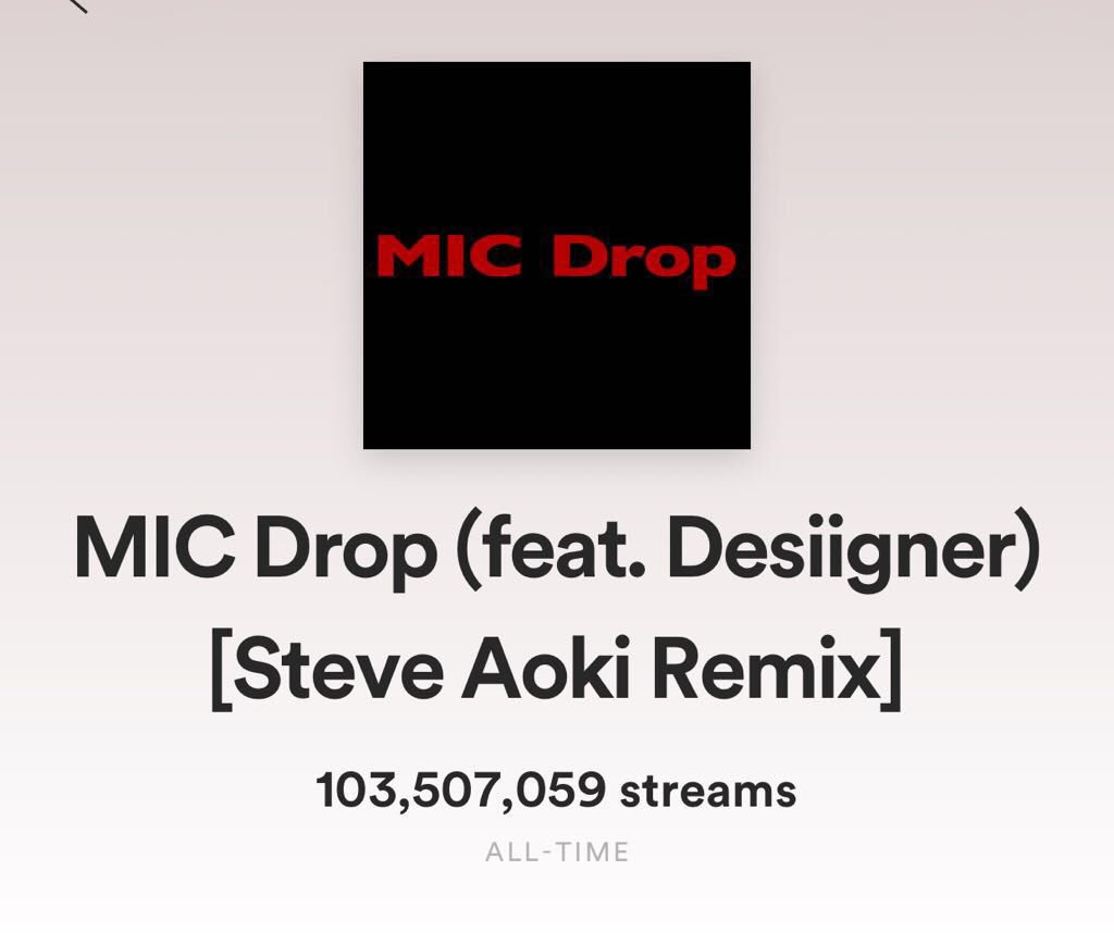 🎤 Drop Bam!!!! 100 milly!! Thank you to all the fans!!! Gamsahamnida! @Spotify #btsarmy let's take #TruthUntold that high 🔝🔝🔝