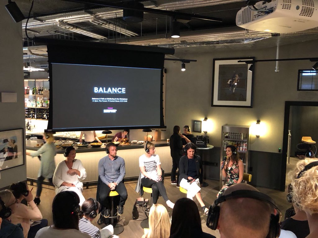 Today we've been with @fora_space #ClerkenwellDesignWeek &amp; @BalanceLDN talking all things Wellbeing in the Workplace. Great discussions and interesting points on interior design, open plan spaces, mental health and removing hierarchy <br>http://pic.twitter.com/47QOhJv4X8