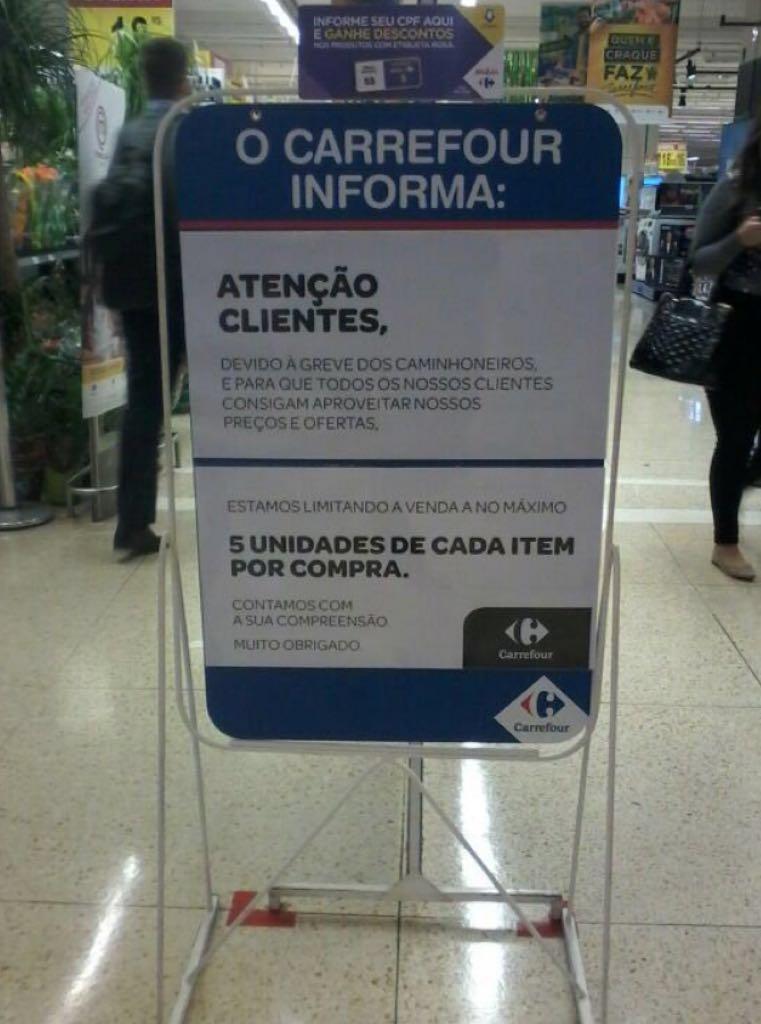 Carrefour limita venda de cinco unidades de cada item por causa da greve https://t.co/M3PVUZduEN