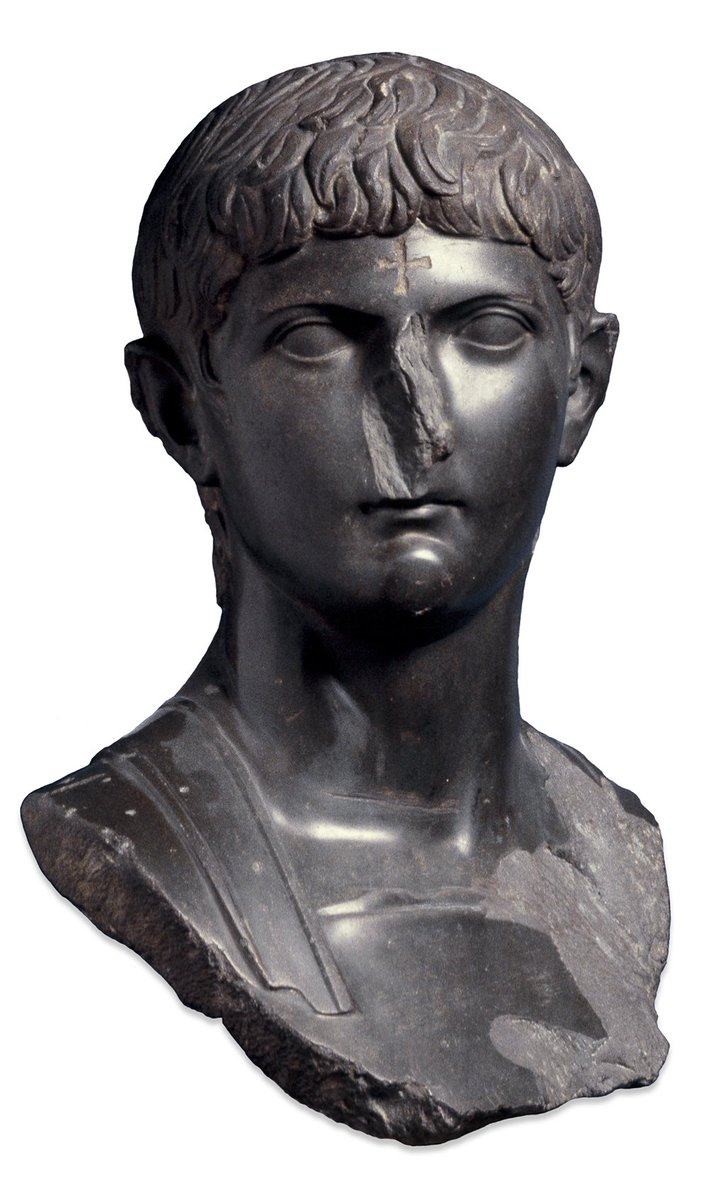 Roman general Germanicus was born #onthisday in 15 BC. This statue has been defaced with a cross on the forehead. Some Christians once believed demons haunted Roman statues – defacing them like this was thought to keep the demons at bay
