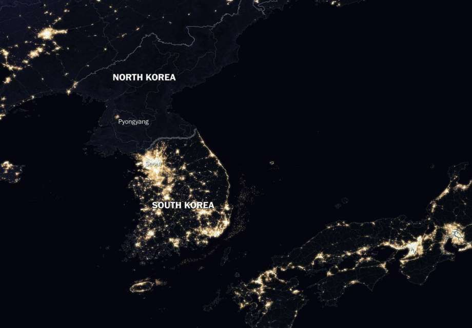 Humanprogress on twitter a view of the korean peninsula at peninsula at night illustrates the relationship between nighttime lighting and economic activity north korea is almost entirely dark while south korea gumiabroncs Choice Image