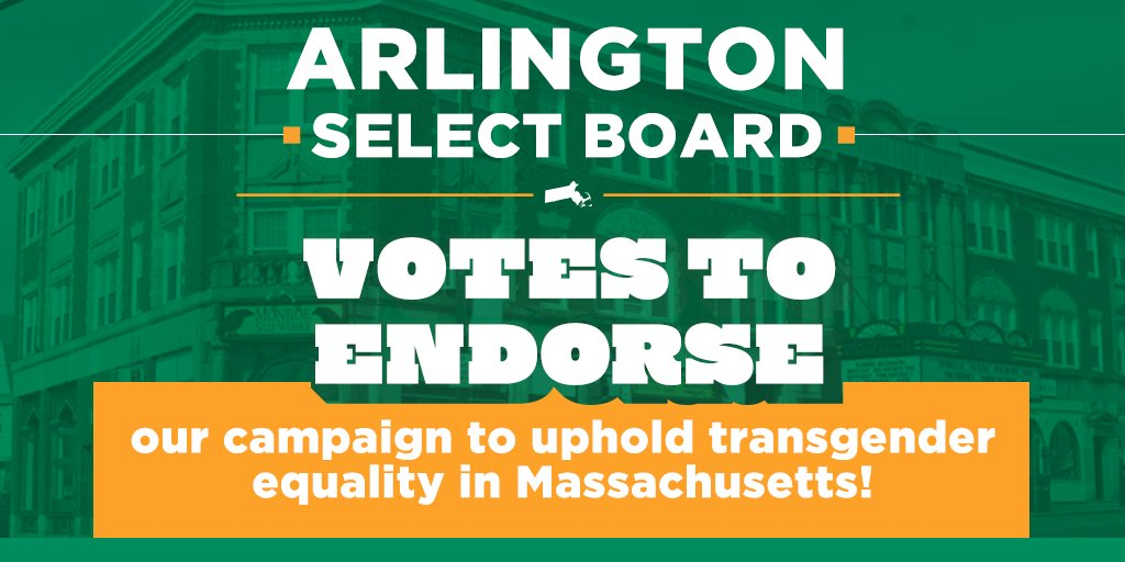 The Arlington Select Board is the latest local government to endorse our campaign to uphold Massachusetts' non-discrimination law protecting #transgender people! Check out their endorsement: https://t.co/w9TxdQDdmc #TransLawMA #mapoli