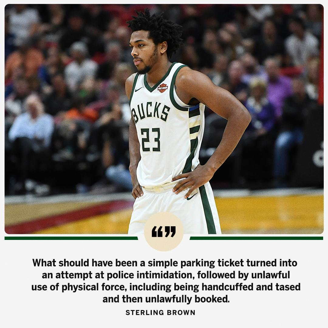 Sterling Brown said he plans to file a lawsuit against the Milwaukee Police Department after he was questioned over a potential parking violation in January.