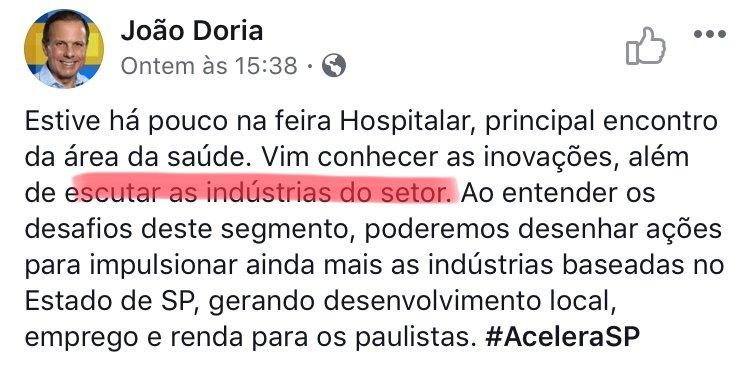 #NaoSuportoNoFacebook Doria não ouve nem liga para a população.  A preocupação dele é agradar os ricos e empresários.  Saúde não é negócio!