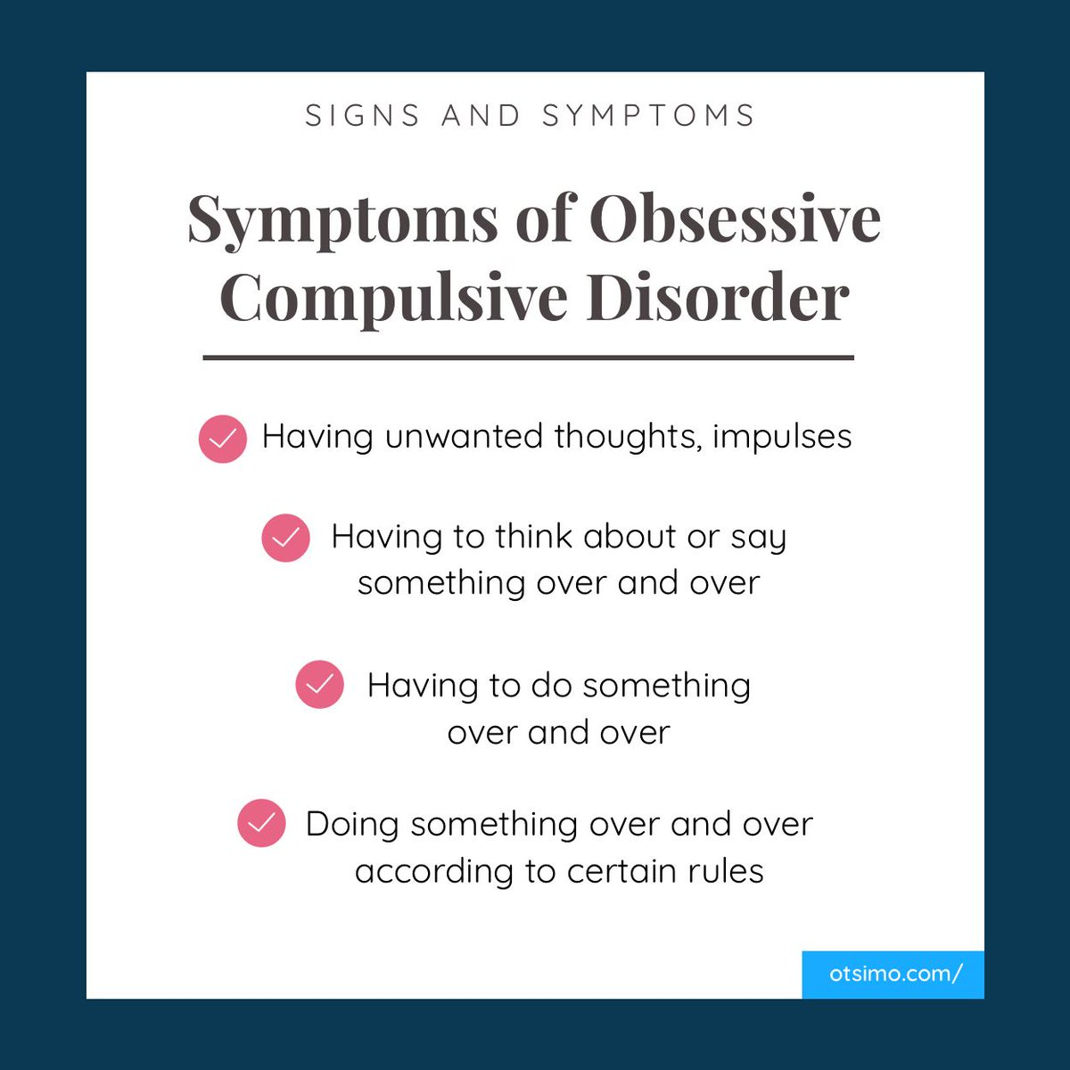 the description of the symptoms characteristics and treatment of obsessive compulsive disorder ocd Obsessive-compulsive disorder (ocd) is an anxiety disorder characterized by uncontrollable, unwanted thoughts and ritualized, repetitive most people with ocd fall into one of the following categories: washers are afraid of contamination they usually have cleaning or hand-washing.