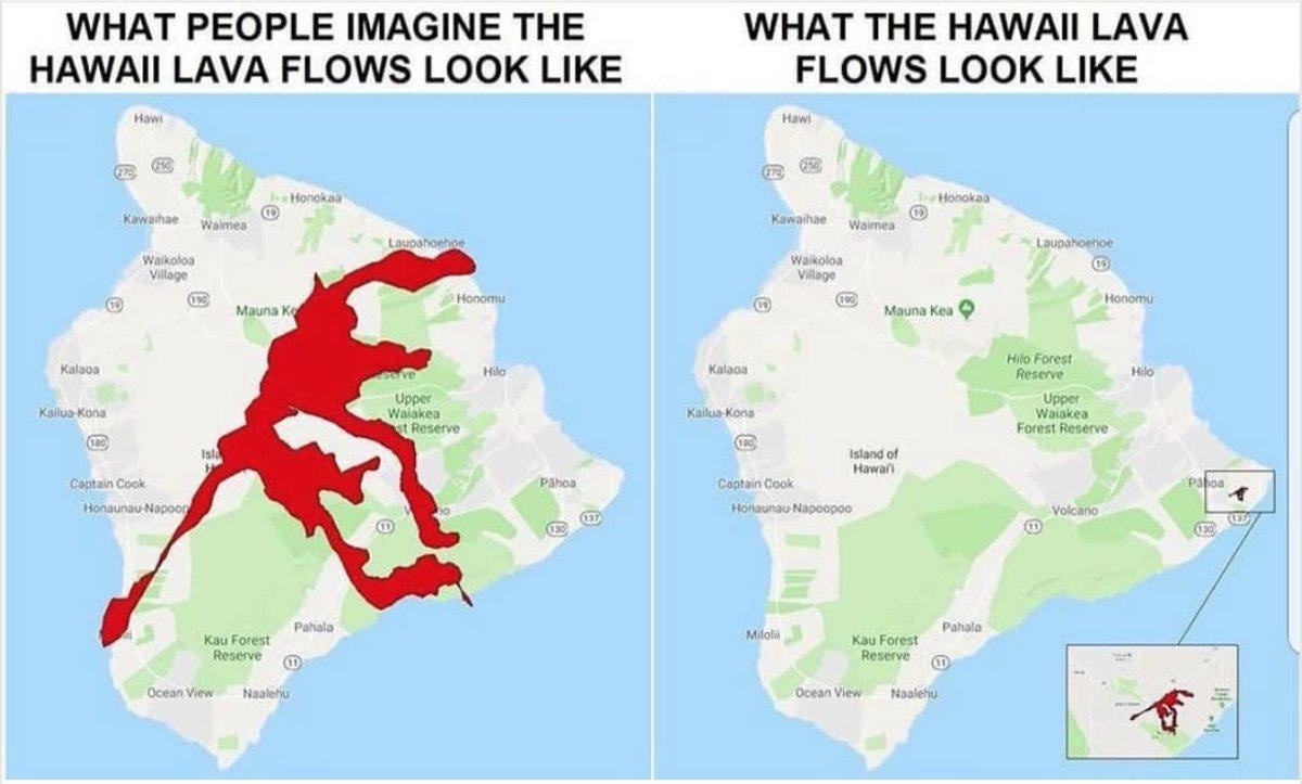 Как люди представляют себе потоки лавы на Гавайях. Как на самом деле выглядят потоки лавы на Гавайях.