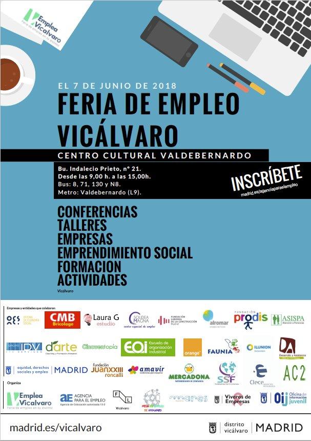 """Resultado de imagen de I Feria de Empleo de Vicálvaro """"Emplea Vicálvaro"""""""