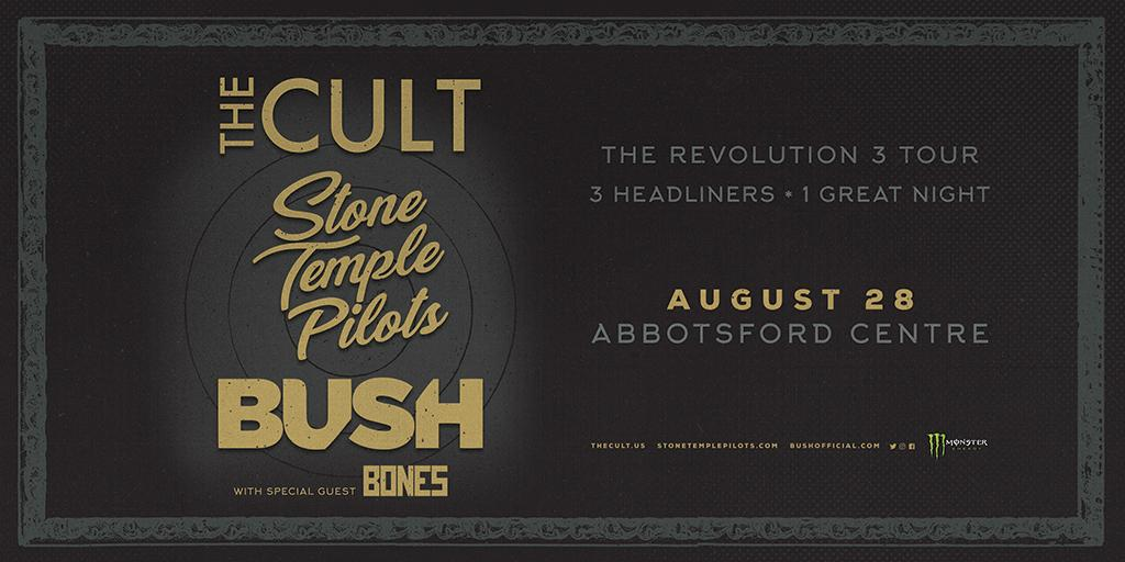 PRESALE ALERT  Get tickets for @officialcult , @STPBand, and @bushofficial&#39;s Aug. 28 show at @AbbyCentre using password PLAYLIST until 10pm tonight:  http:// bit.ly/2KQB9KM  &nbsp;  <br>http://pic.twitter.com/gYXbWWeLQq