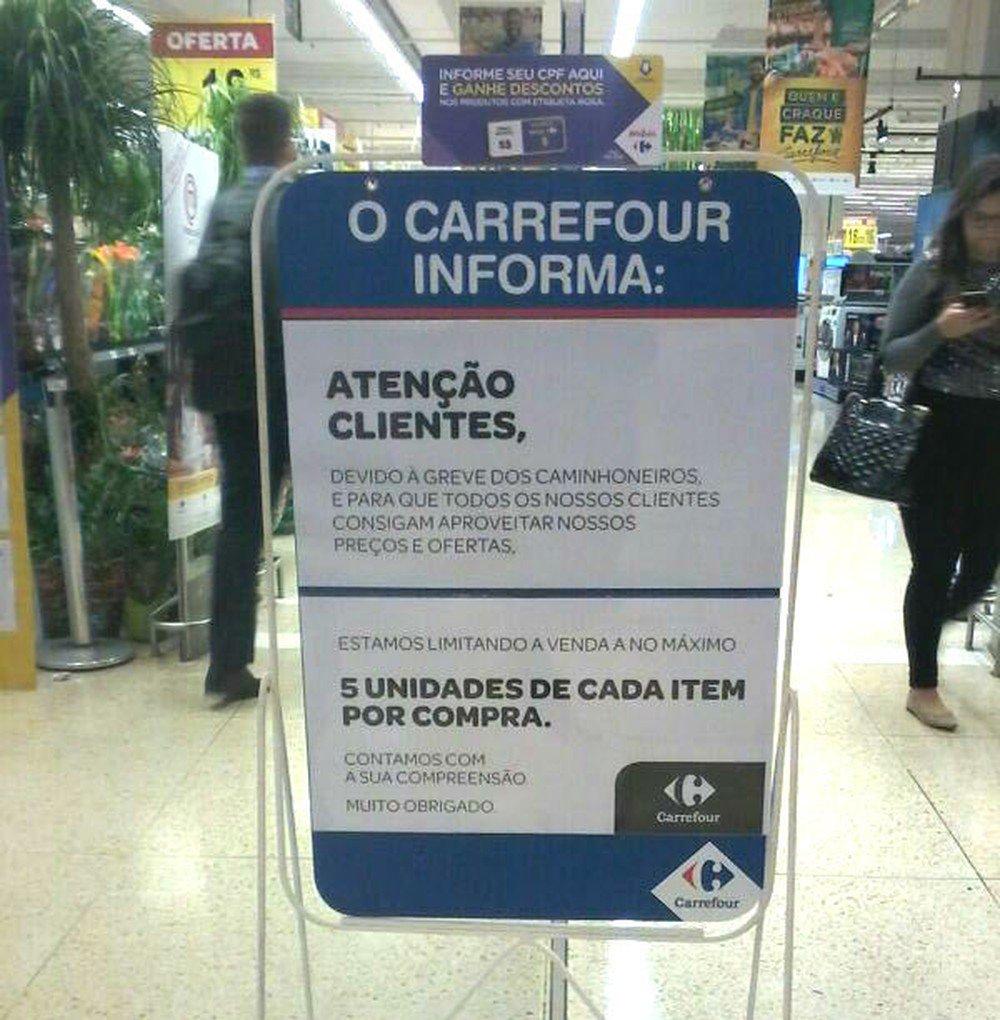 DF: Carrefour limita clientes a comprar até 5 unidades por produto https://t.co/O8rYvTYRst #greve #G1