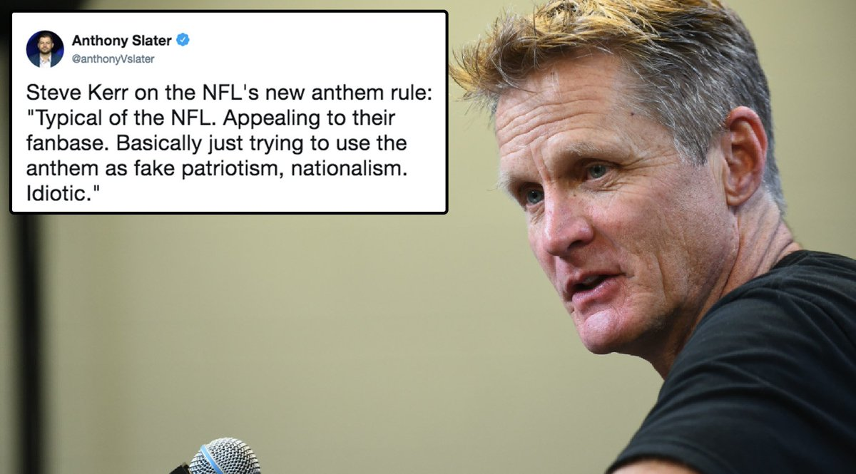 'Idiotic' — Steve Kerr on NFL's anthem policy