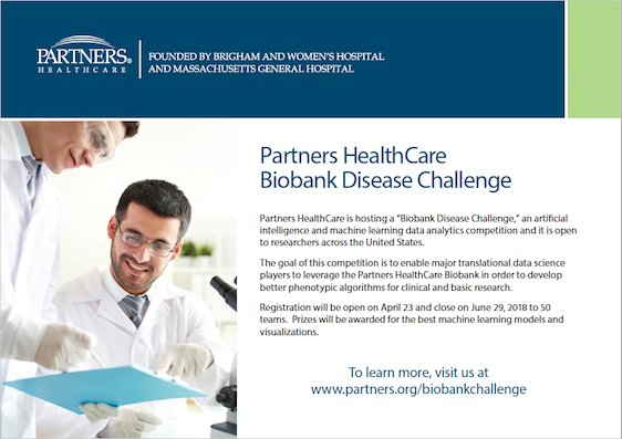 .@PartnersNews is hosting a #DataChallenge, an #AI and #MachineLearning biobank data analytics competition, open to researchers across the US. Prizes up to $15,000. https://t.co/9X8v9QpiiP @DellEMCbigdata #TransformHIT #DataScience