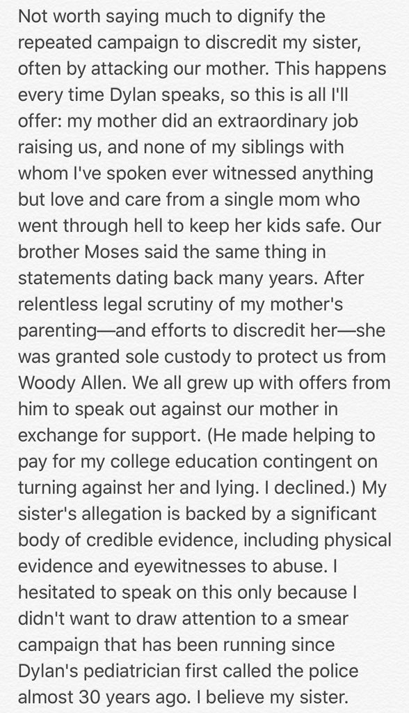 All I'm going to say about efforts to deflect from my sister's allegations: