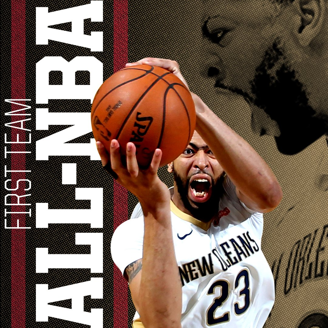 Anthony Davis has been named First Team All-@NBA!   CONGRATS @AntDavis23 💪💪💪  #doitBIG #Pelicans #NBA