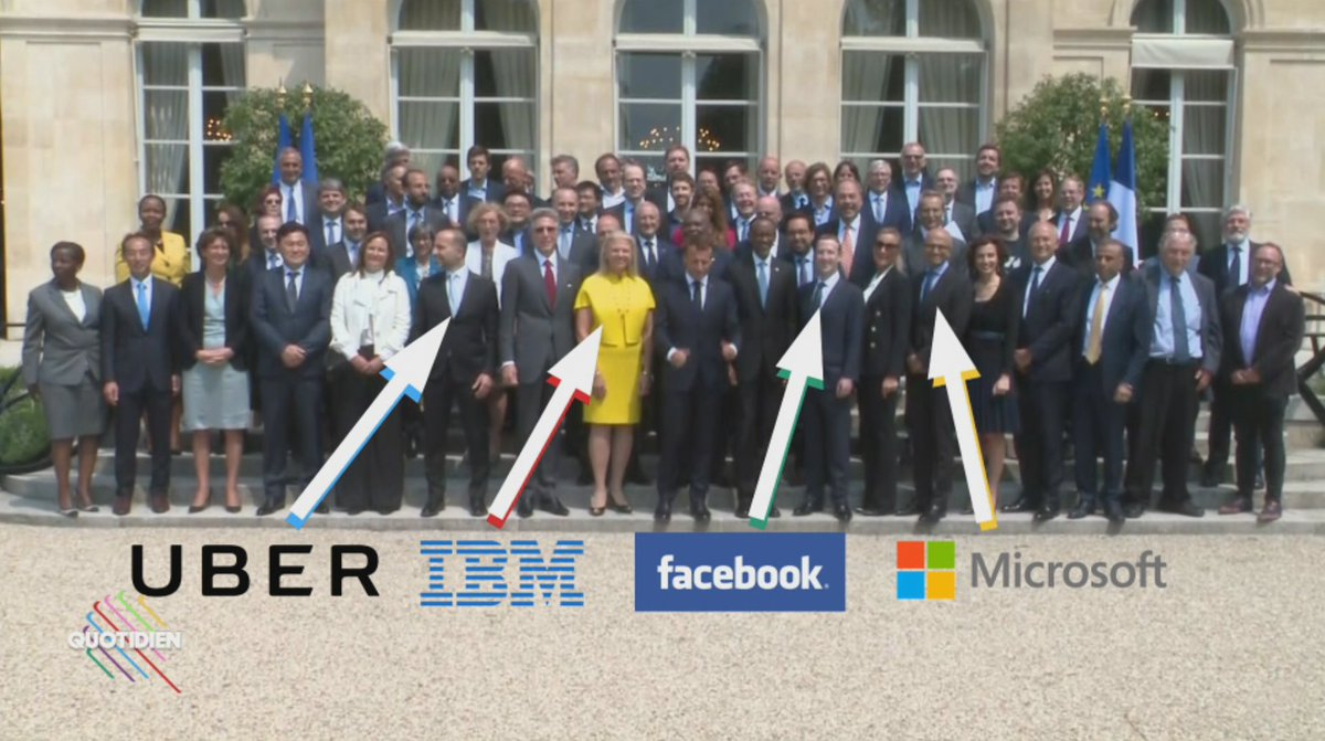 💸 C'était hier à l'Élysée avec les patrons de la 'tech' et de l'évasion fiscale : moins tu paies d'impôts, plus t'es proche du président sur la photo… #Quotidien