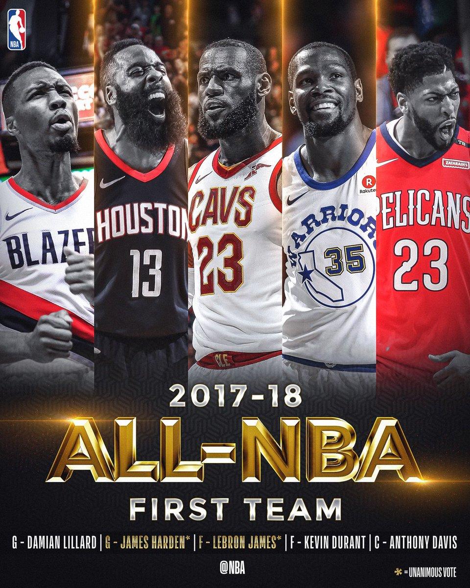 The 2017-18 All-NBA First Team!   @JHarden13  @KingJames  @AntDavis23  @Dame_Lillard  @KDTrey5