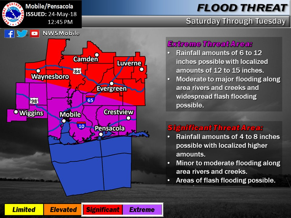 1pm- This new Flood Threat graphic has slightly HIGHER rain amounts expected for this weekend into the early part of next week.  ⚠️ There is an EXTREME Threat of flooding from Saturday thru Tuesday along our coastal counties with widespread areas of flash flooding possible.