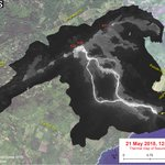 Image for the Tweet beginning: Thermal map shows lava's path
