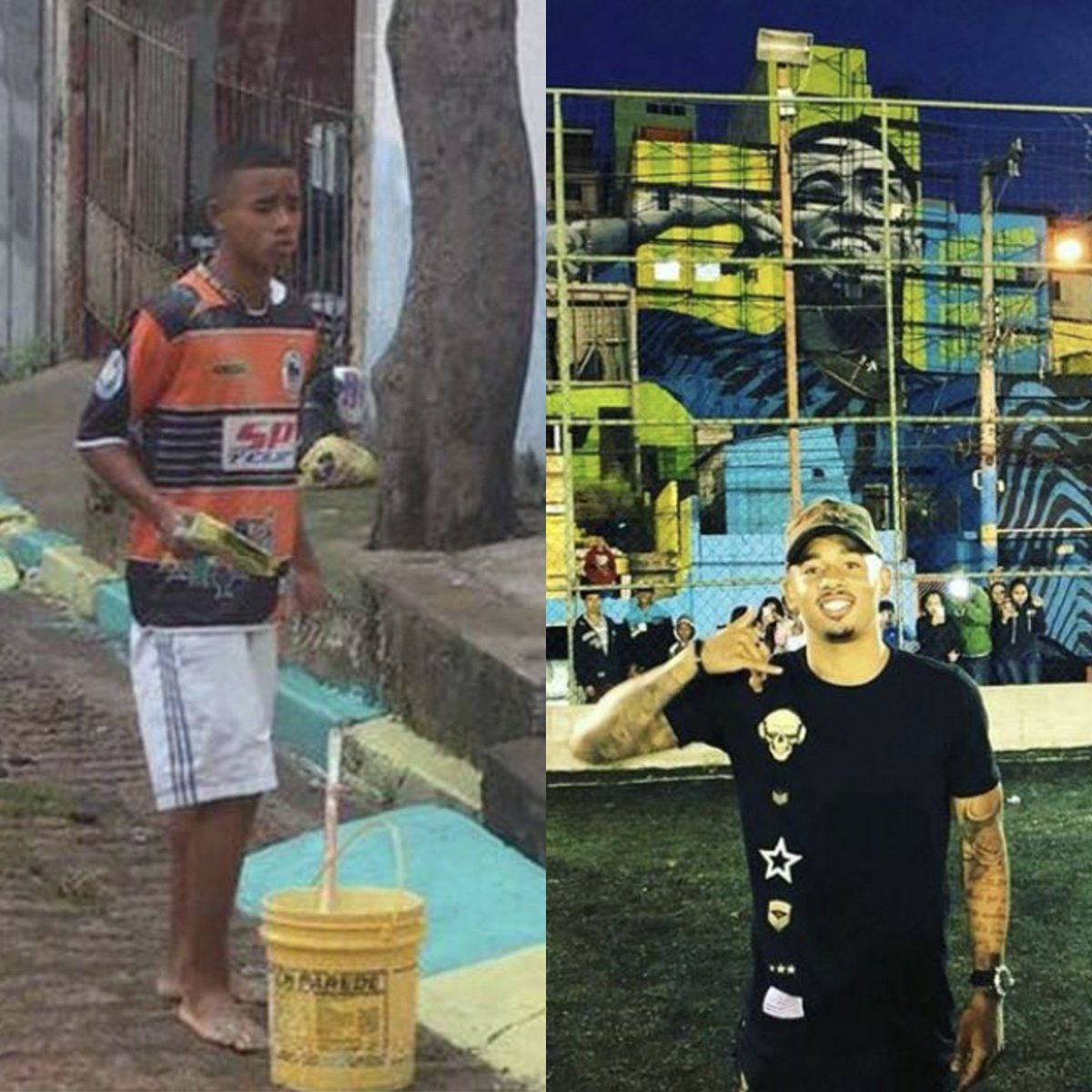 Gabriel Jesus' life has changed massively in four years! A true inspiration 🙌  Before the 2014 World Cup:  🎨 Painting the streets of São Paulo  Before the 2018 World Cup:  🇧🇷 A giant mural has been painted of him in his hometown
