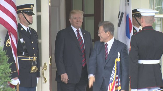 Pres Trump at West Wing Portico to welcome South Korean Pres Moon Jae-in back to the WH for talks and working lunch. Again, no joint press conference.