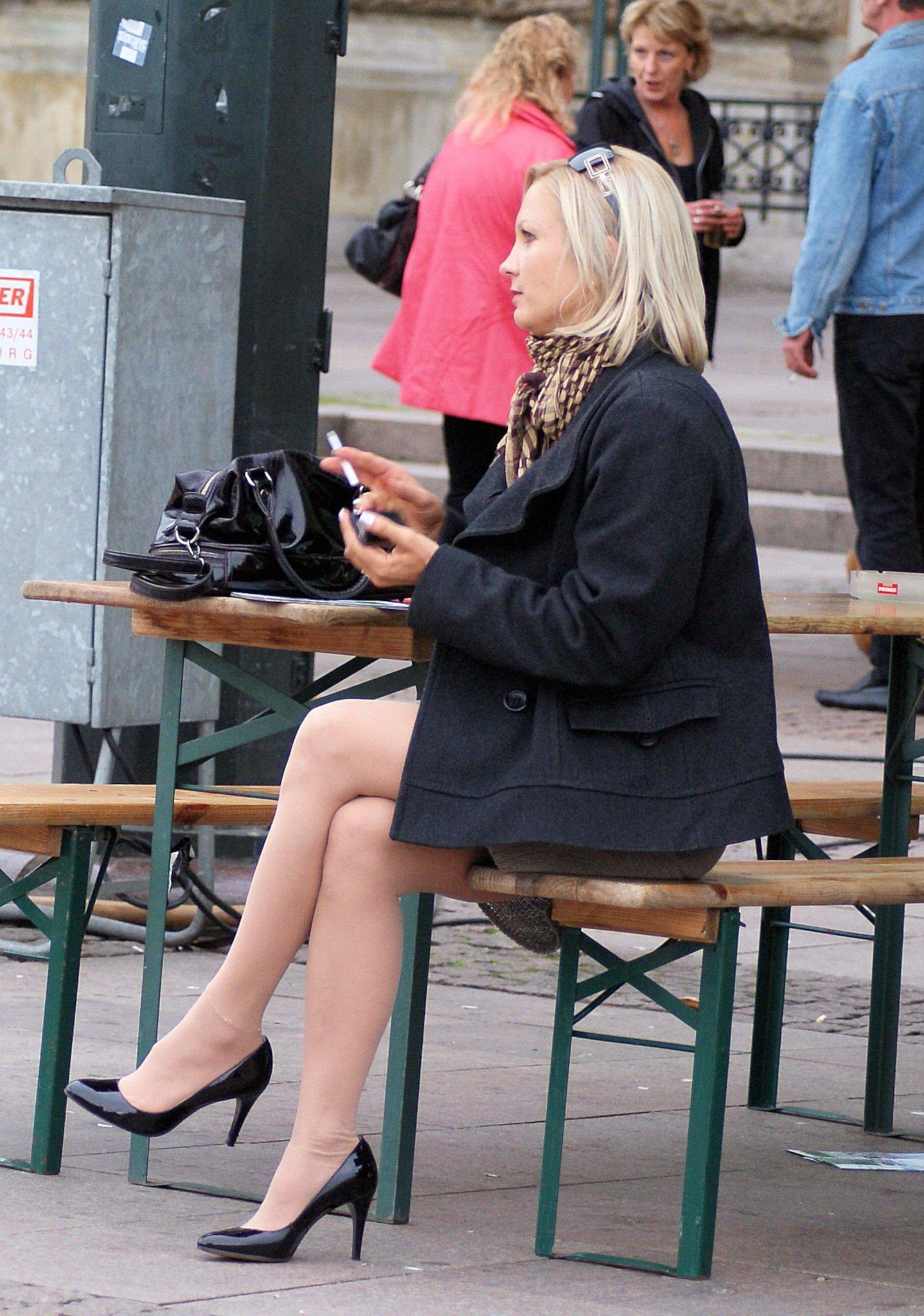 Candid Legs on Twitter: Mature Woman Wearing Black